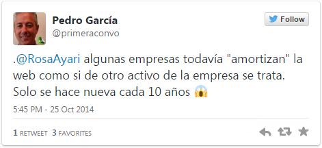 Tweet de Pedro García sobre usabilidad web